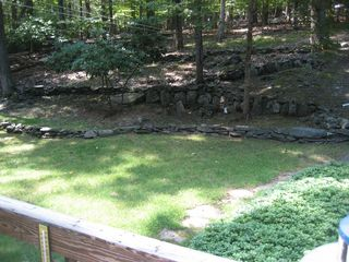 Lake Wallenpaupack house photo - Back Yard (Fire pit is to the left with small shed)