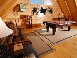 Pigeon Forge cabin photo - Loft with pool table, foosball and sleeper sofa