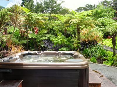 Enjoy the outdoor garden spa with UV light water purification and infrared sauna