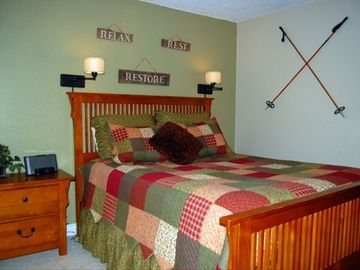 Breckenridge condo rental - Queen Bedroom w/ pillow top, clock radio, bedside lights to snuggle with a book