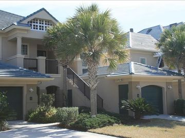 Amelia Island condo rental - Front view, private driveway and garage - Condo entry up stairs on top right