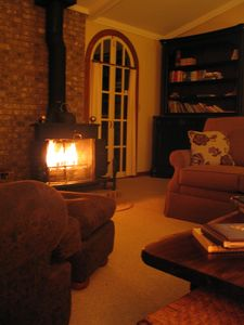 Cozy up in front of the wood burning stove