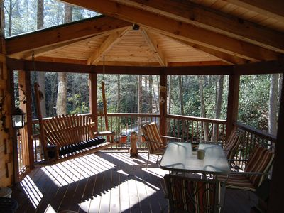 Brevard cabin rental - Large hexagonal covered deck with swing - beautiful views!