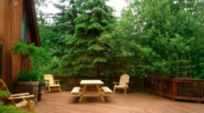 Coudersport house rental - The back deck is ready for your cookout and picnic.
