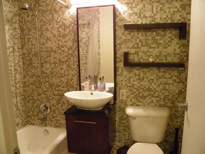 Tiled Bathroom with Vessel Sink