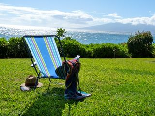 Lahaina condo photo - Lawn looks west to Lanai and Molokai