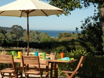 "Carmel house rental - Welcome to ""Restful Refuge""! Ocean view Carmel home. Huge outdoor deck with gas grill for entertaining. Fenced yard with rose garden."