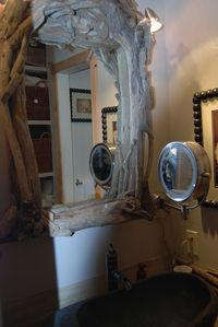 Driftwood mirror along with makeup mirror