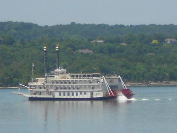 Showboat Branson Belle often cruises nearby. (This photo taken from our balcony)