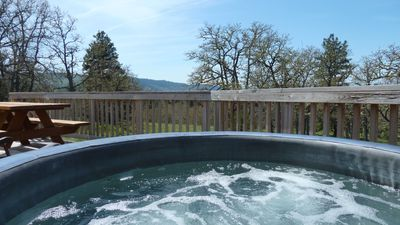 Softub hot tub on the deck