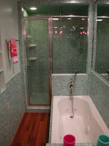 Master Bedroom Bath/jetted tub,rain forest shower.