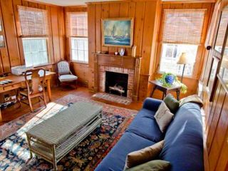 Edgartown house photo - Bright Den Has Fireplace, Work & Areas. First Floor
