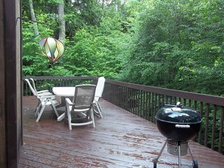 Windham house photo - deck with grill and beautiful view of woods