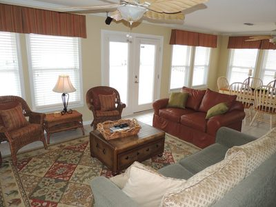 Fort Morgan house rental - Great room with French doors leading to deck