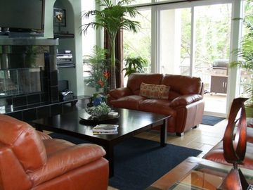 Comfy Leather Sofas to Lounge on While Watching TV & Enjoying Fireplace.