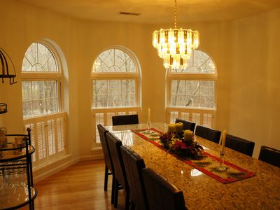 Tannersville house rental - Beautiful marble custom made dinning room table with seating for 12.