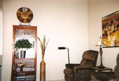 "Cozy Den / Reading room has 2 LA-Z-Boy recliners, 32"" HDTV and DVD"
