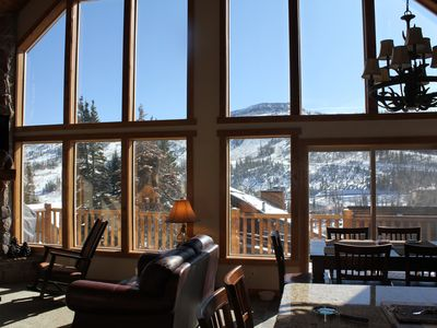 View from inside cabin looking directly at Brian Head summit and ski runs