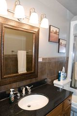Seven Springs house photo - All bathrooms have hard surface counters, master offers double bowl