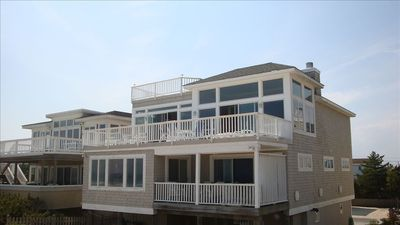 Ocean facing side of house w/ 3 decks