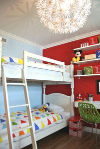 Pottery Barn twin bunk beds, twin single bed + twin mattress, sleeps 4.