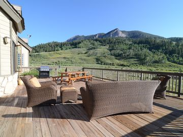 Crested Butte house rental - Unbelievable views, on our HUGE deck with comfortable seating and eating area.