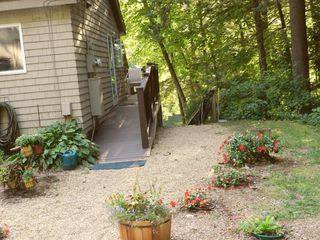 Moultonborough house photo - Side Entrance is Accessible to House & Deck. To Right is Steps to Patio & Dock.