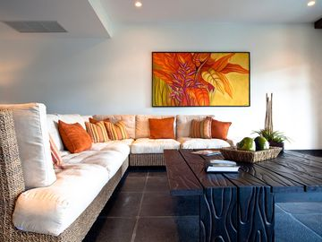 Living Room with Balinese Inspired Decor