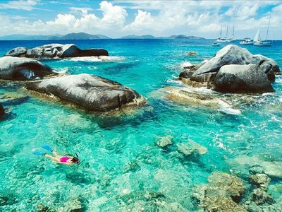 Fabulous snorkeling and scuba diving in and around the boulders of the Bath's!