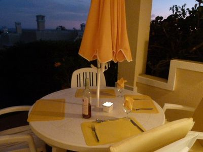 Romantic patio dining in the evenings