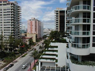 Miami Beach condo rental - City view from window (Collins Ave)