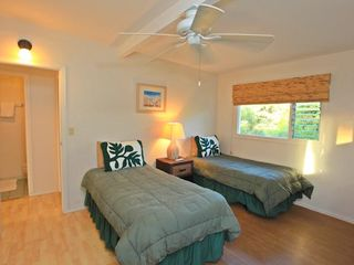 Haleiwa house photo - (3 bedroom)Twin Beds with a/c across from bathroom
