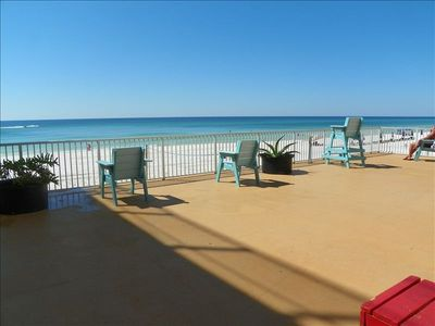 1 of 3 large sundecks boasts volleyball court and panaramic gulf views!