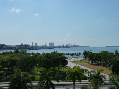 From the balcony: the Bay of Biscayne. South Beach and Key Biscayne at the back