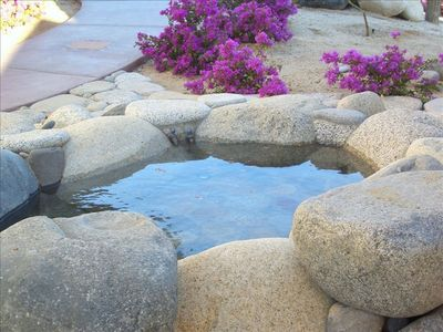 Stone hot tub in the garden.