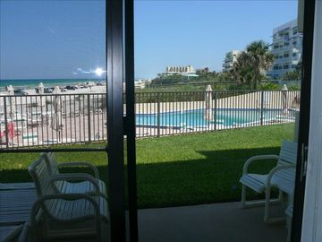 View of pool area from inside Unit #1