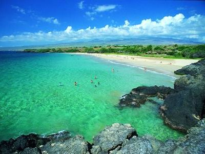 Hapuna Beach is probably the most famous beach on the Big Island, and 20m. away.
