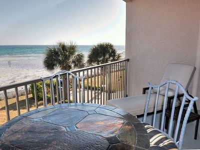 Enjoy the views and sounds of the gulf and beach from the balcony