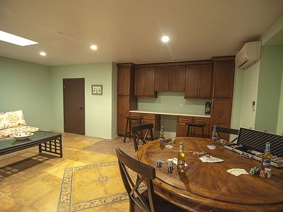 Basement with tv