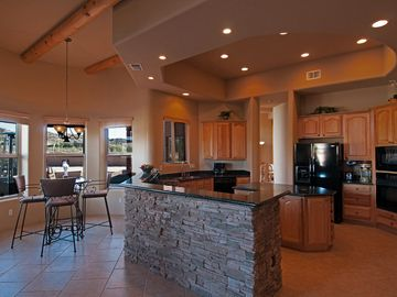 Large Kitchen with Granite Countertops and Great Views