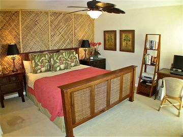 Tropical and spacious, the master bedroom is as comfortable as it is attractive