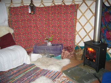Inside the Yurt with woodstove
