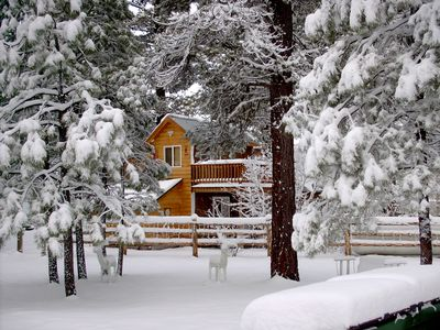 Winter picture of East Side of Cabin with upstair deck for Fantanstic Views
