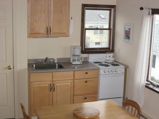 Rockport studio photo - Kitchen area with new 4 burner stove and oven