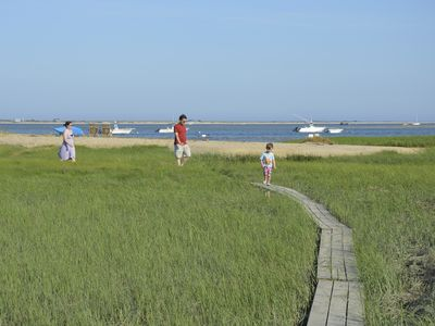 Kids love the board walk... caution: slippery when wet-soft spartina underfoot