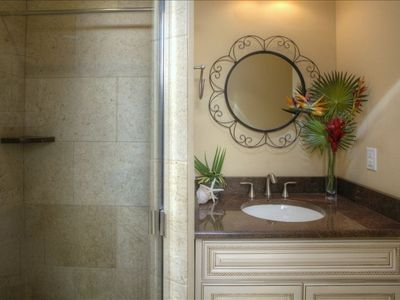Marble and Travertine abounds in the Master Bath