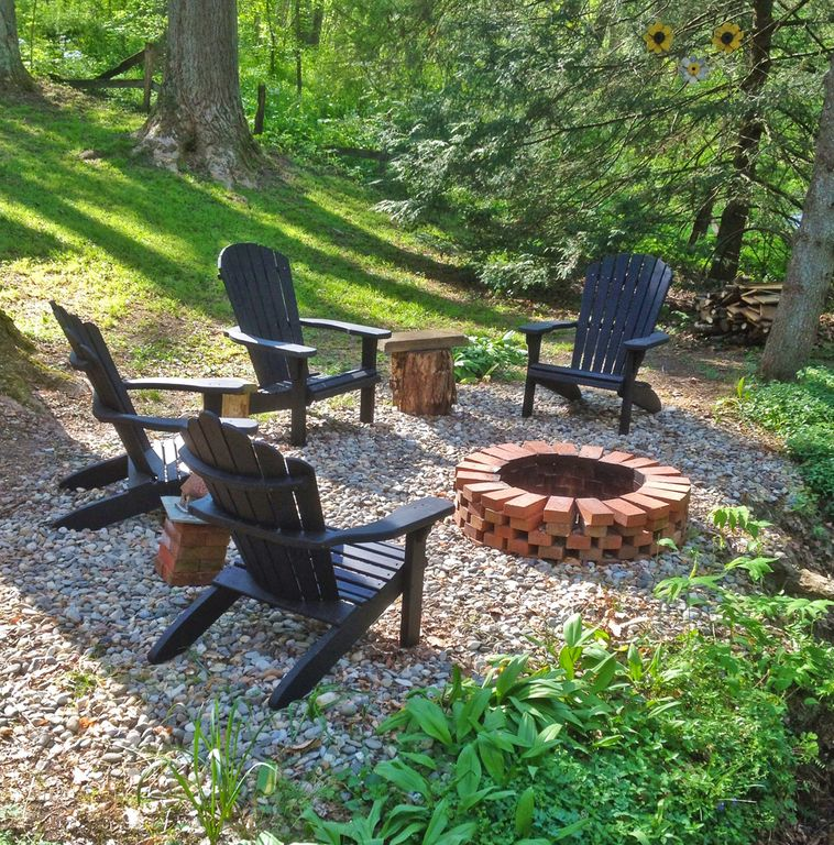 Lancaster cabin rental - Fire pit by the creek, located at our cabin rental in Lancaster County, Pa