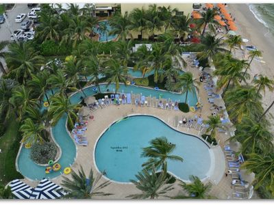 9th Floor View of Lazy River and Pool Area. Very popular with Kids and Adults.
