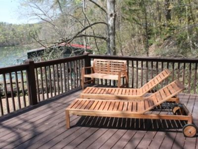 Lower Deck with Wooden Furniture - Overlooking the Lake