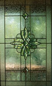 Leaded glass front door window.